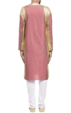 pink cotton silk spray paint kurta