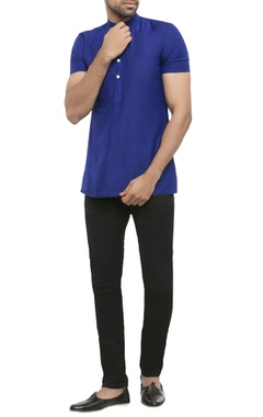 navy blue cotton silk solid short kurta