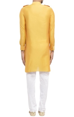 yellow cotton silk worli print kurta