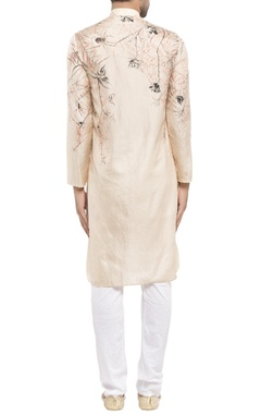 peach silk printed kurta