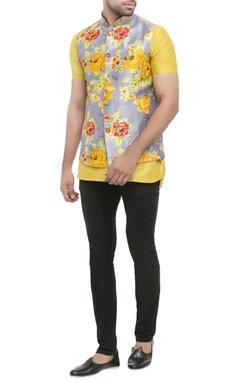 yellow cotton silk kurta with printed bandi