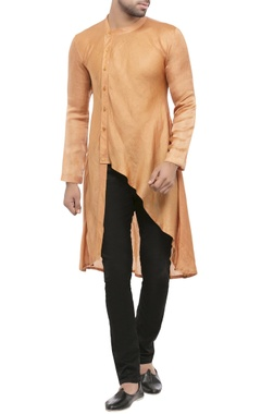 gold cotton silk solid asymmetric kurta