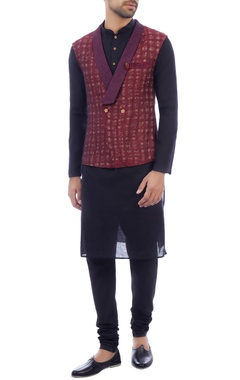 Purple overlap wool jacket