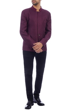 Plum wool bandhgala jacket