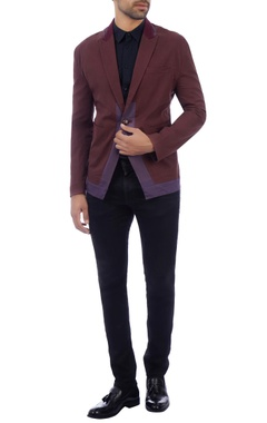 Purple & brown single button blazer