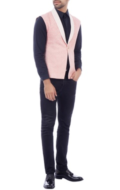 Pink contrast lapel sleeveless jacket