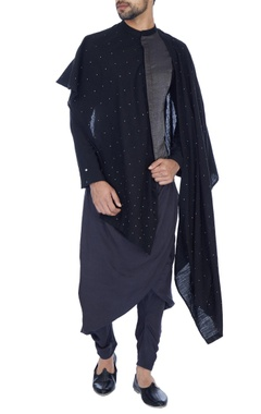 Antar-Agni Black & grey embellished draped kurta