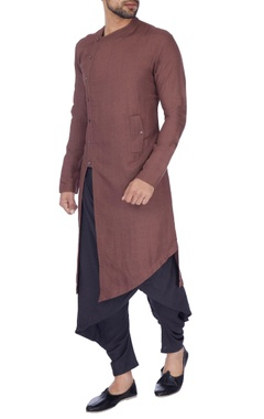Antar-Agni Copper & grey solid layered kurta