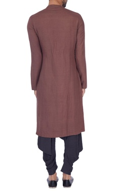 Copper & grey solid layered kurta