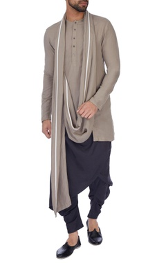Antar-Agni Grey cowled solid dhoti pants