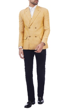 yellow double breasted linen jacket