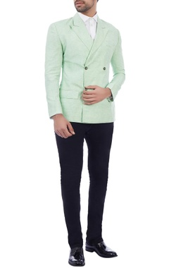 mint green hand stitched linen jacket