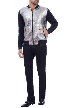 black & silver quilted bomber jacket