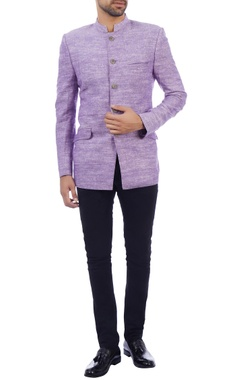 purple khadi bandhgala jacket