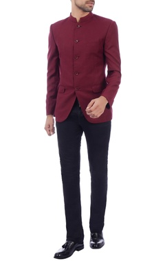plum button down bandhgala