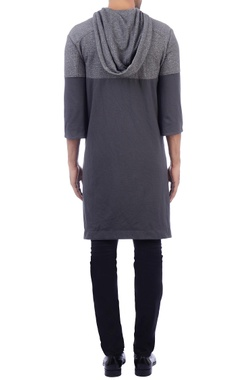grey color-block poncho