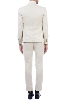 cream linen blazer & trousers