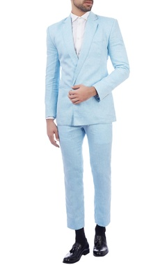 blue linen blazer & trousers