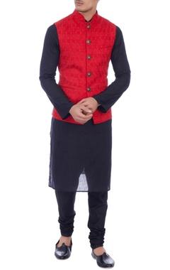 red embroidered silk nehru jacket