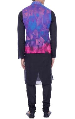purple & pink psychedelic printed nehru jacket