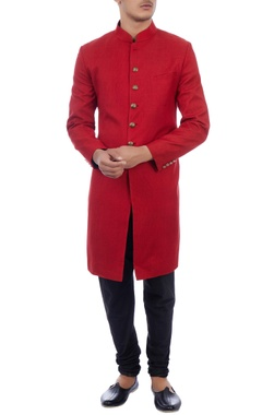 red lightweight wool sherwani