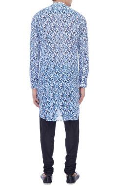 white & blue dot printed kurta