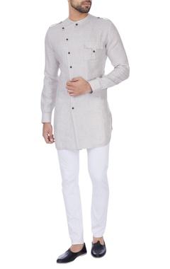 Khanijo Oatmeal & off-white check pattern kurta