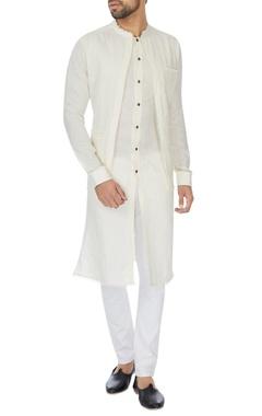 Khanijo Ivory double layer linen kurta