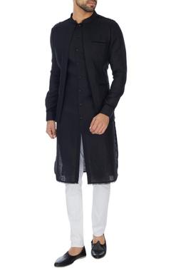 Khanijo Black jacket layer linen kurta