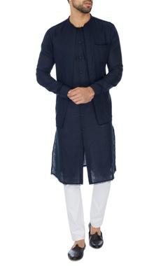 Khanijo Navy blue double layer linen kurta