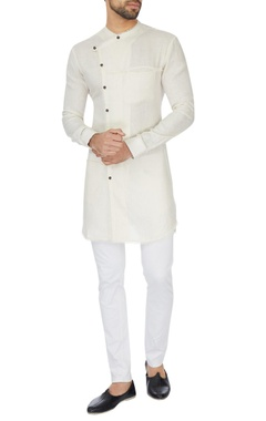 Khanijo White cross-over wrap linen kurta