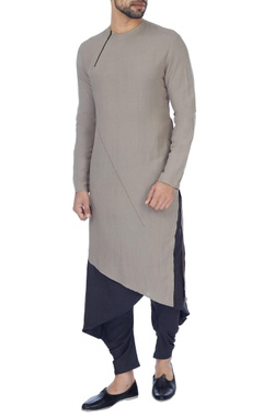 Antar-Agni Grey & navy blue layered kurta