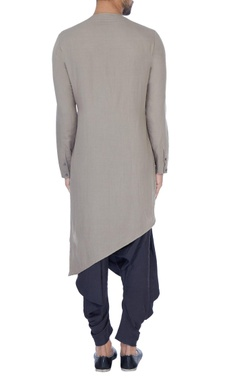 Grey & navy blue layered kurta