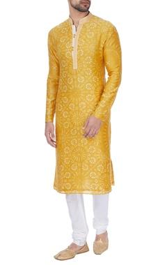 Dhruv Vaish Yellow tie-dye classic kurta