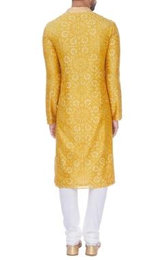 Yellow tie-dye classic kurta