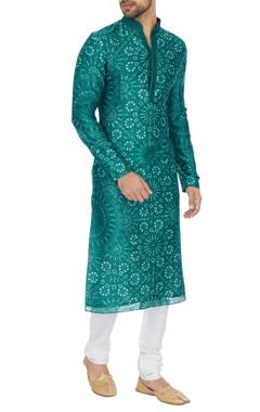 Dhruv Vaish Teal blue tie-dye classic kurta