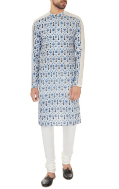 Dev R Nil - Men Light grey cotton printed kurta with off white cotton lycra churidar