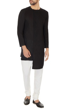 Dev R Nil - Men Black cotton pleated asymmetric kurta with off white cotton silk churidar
