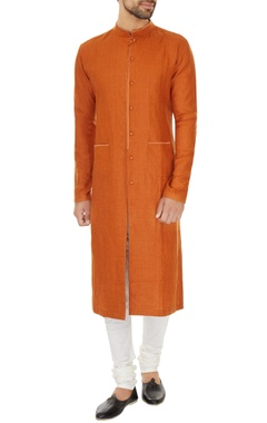 Dev R Nil - Men Orange linen solid kurta with off white cotton lycra churidar