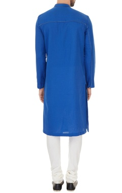 Blue linen solid kurta with off white cotton lycra churidar