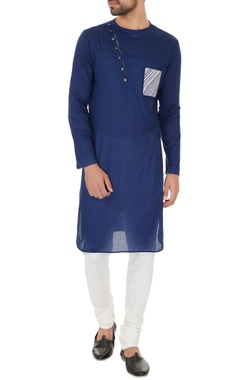 Dev R Nil - Men Blue cotton print details kurta with off white cotton silk churidar