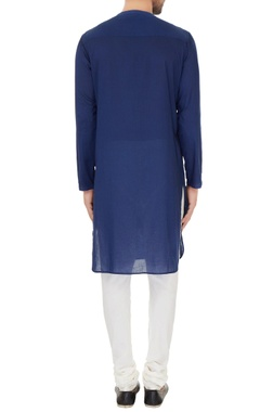 Blue cotton print details kurta with off white cotton silk churidar