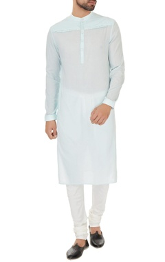 Dev R Nil - Men Aqua blue cotton solid kurta with cotton lycra churidar