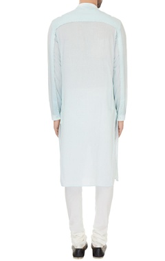 Aqua blue cotton solid kurta with cotton lycra churidar