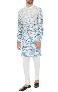 Dev R Nil - Men White cotton printed kurta with off white cotton lycra churidar