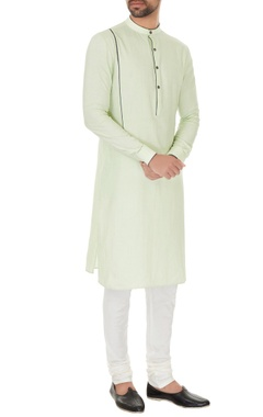 Dev R Nil - Men Mint green cotton solid kurta with off white cotton lyra churidar