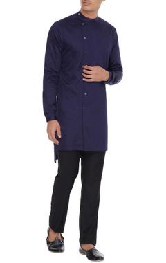 Mr. Ajay Kumar - Men Navy blue wrap style button down kurta
