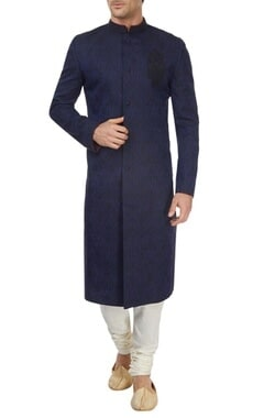 Blue and black sherwani