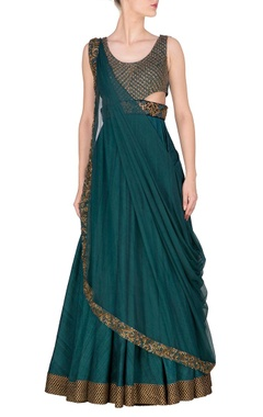 teal embroidered anarkali with attached dupatta