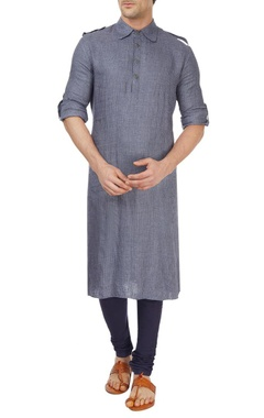 Grey and blue paithani set
